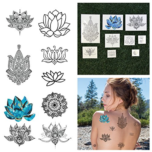 Tattify Assorted Lotus Flower Temporary Tattoos - Body, Mind and Spirit (Complete Set of 18 Tattoos - 2 of each Set) - Individual Styles Available - Fashionable Temporary Tattoos