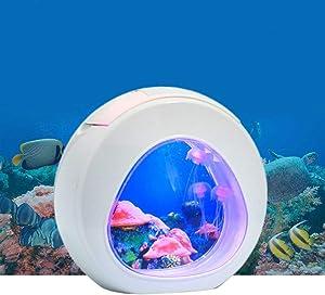 1 Gallon Aquarium Betta Fish Tank, Fish Aquarium with LED Light & Power Filter, Fish Bowl Comes with Artificial Aquatic Plants Aquarium Gravel