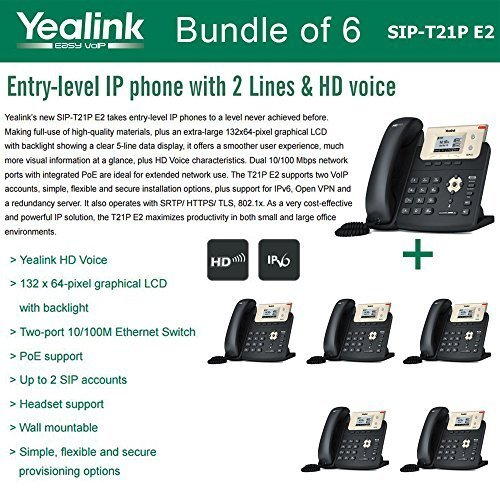 Price comparison product image Yealink SIP-T21P E2 Bundle of 6 Entry-level IP phone 2 Lines HD voice PoE LCD