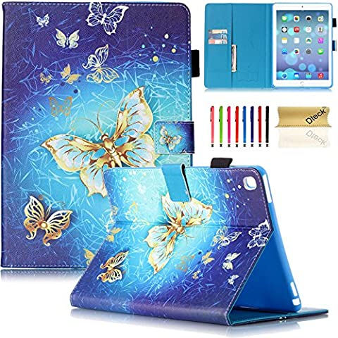 iPad Pro 9.7 Case, Dteck Heavy Duty PU Leather Smart Stand Case [Auto Sleep/Wake] with Pencil Holder Full-body Protective Case Cover for iPad Pro 9.7 inch (2016 Model),Golden (Ipad Air 2 Cover Tiger)