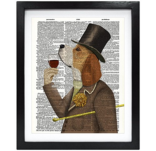- 8X10 Unframed Gentleman Dog Smell Red Wine Upcycled Vintage Dictionary Art Print Book Art Print Home Decor Wall Art V048