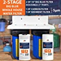 "2-Stage Big Blue 10"" Whole House System+ Bracket+ Sediment+Carbon Block Filters"