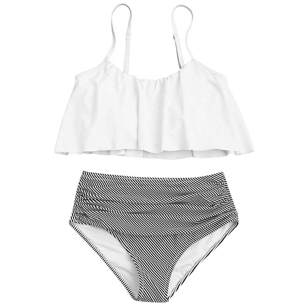 YTJH Conjunto de Bikini Mujer 2018 Traje de Baño Volantes Correas de Espagueti Bañador Plisado Estampado