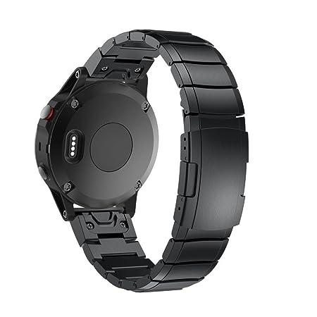 Correa de acero inoxidable para reloj GPS Garmin Fenix 5X, negro: Amazon.es: Deportes y aire libre