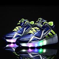 LED Light Up Roller Skates Shoes,Double Wheel Skates Unisex Led Light Up Shoes Retractable Wheels Skate Sneaker Suitable For Girls Boy