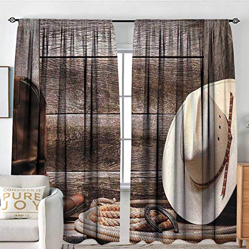 - Petpany Customized Curtains Western Decor,American West Rodeo White Straw Cowboy Hat with Lariat Leather Boots on Rustic Barn Wood,for Room Darkening Panels for Living Room, Bedroom 54