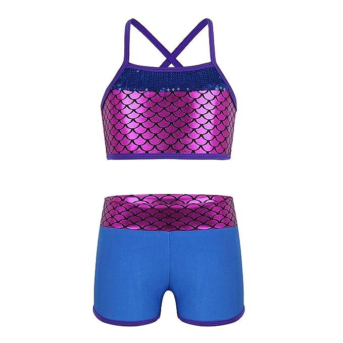Alvivi 2Pcs Ropa Deporte con Lentejuelas Camisa Tirantes Tank Top Niña Gimnasia Pantalones Cortos Deportivos para Ejercicio Fitness Bikini Niña: Amazon.es: ...