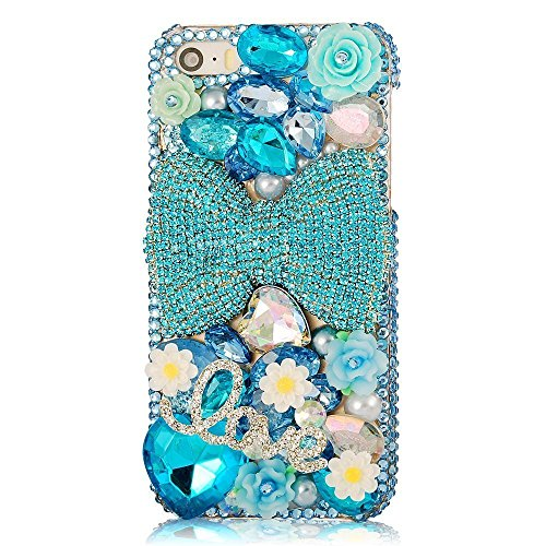 KAKA(TM Phone Case for iPod, iPod Touch 6 3D Rhinestone Crystal Clear Back Cover with Love Pattern Blue Bowknot Pearls Daisy