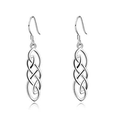 a046c90ee Amazon.com: LUHE Sterling Silver Good Luck Irish Celtic Knot Dangle Drop  Earrings for Mother's Day Jewelry (Celtic knot dangle earrings): Jewelry