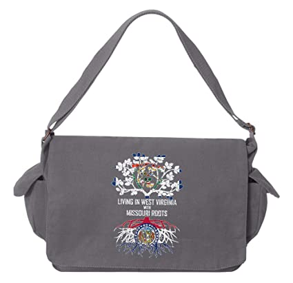 Tenacitee Living In Missouri with Virginia Roots Grey Brushed Canvas Messenger Bag