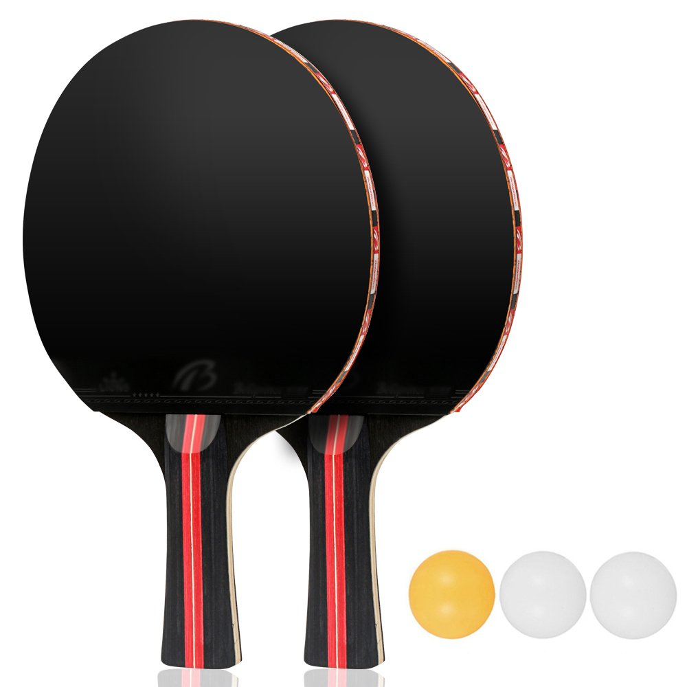 Aissy Table Tennis Set,Pair of Premium Table Tennis Bats & 3pcs Practice Ping Pong Balls with Carrying Case for Indoor and Outdoor Sports Activities