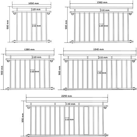 Sailun/® 90/x 100//128//156//184/cm Balustrade balcon balcon garde-corps gel/änder acier inoxydable Fran/çais
