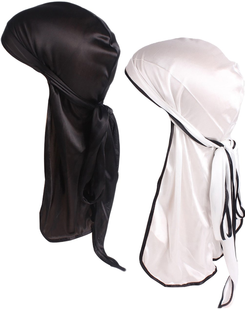 YI HENG MEI Men 2PCS/3PCS Silky Stretchable Durag Do Rag Bikers Hip Hop Pirate Hat YHMTJM-05A-05C Group 1(2pcs)