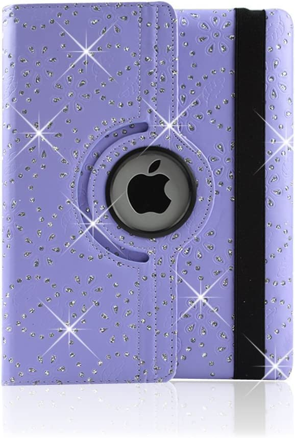 Purple Reedax/® DIAMOND BLING LEATHER 360 ROTATING CASE FOR APPLE iPAD 2 3 /& iPAD 4 COVER RETINA STAND CASE AND SCREEN PROTECTOR AND STYLUS