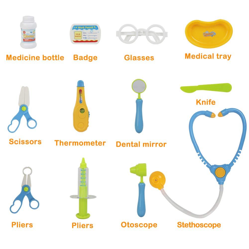 Valigetta Dottore Giocattolo con Accessori del Dottore Gioco di Ruolo per i Bambini 3 Anni, Blu