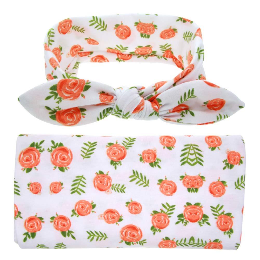 90 CM Polyester 90 E01 COUXILY Baby Decke Swaddle Puckt/ücher aus Puckdecken Swaddle und Haarband Set Baumwolle