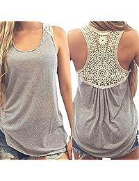 Baishitop Women Crochet Vest Lace Tank Tops, Sexy Blouse Casual T-Shirt