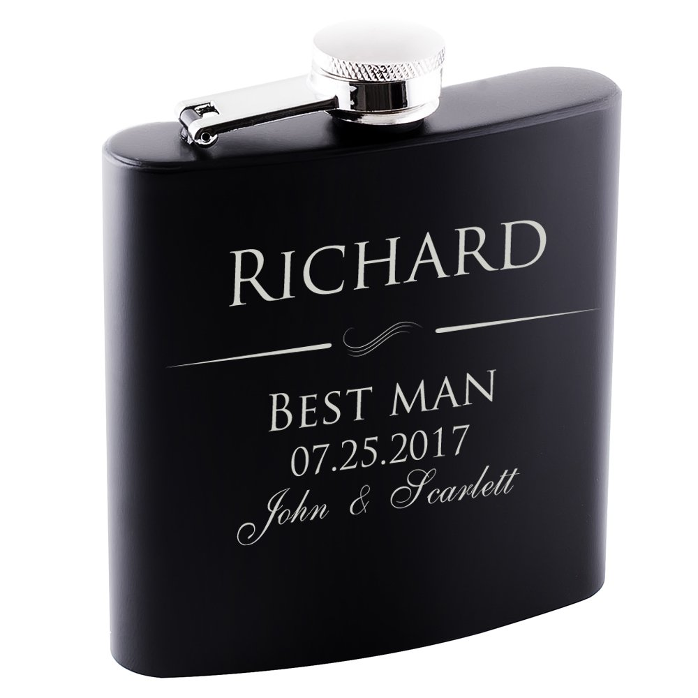 P Lab Only 1 - Groomsmen Gift - Groomsman Gifts For Wedding, Wedding Favor Customized Flask w Optional Gift Box - Engraved 6oz Stainless Steel Hip Flask Custom Personalized Flask Gift, Black #1