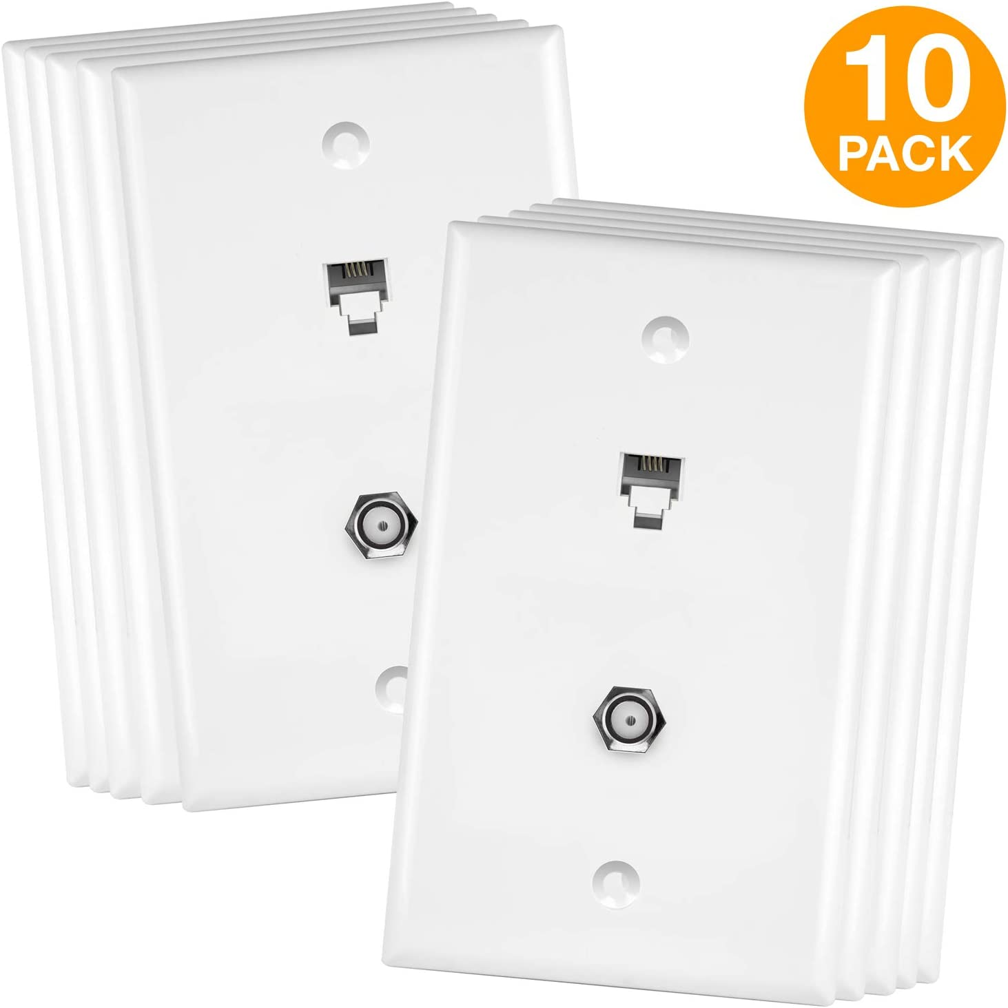 Eagle Telephone Wall Plate White Dual Jack Modular RJ11 6P4C 4 Conductor pack 25