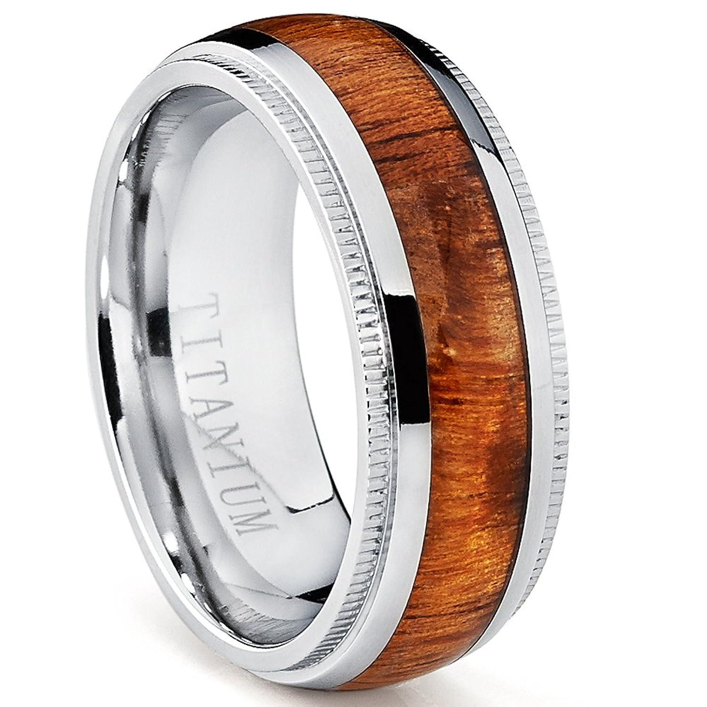 B titanium wedding band Titanium Wedding Band Engagement Ring with Real Hawaiian Koa Rosewood Inlay 8mm comfort fit Amazon com