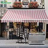 Diensweek 15'x10', Red/Grey Stripes, Semi-Cassette Manual Retractable Window/Door Cloth Cover Canopy Sun Shade Patio Awning, 100% Arcylic, Manual C200 Series, 2 Years Warranty