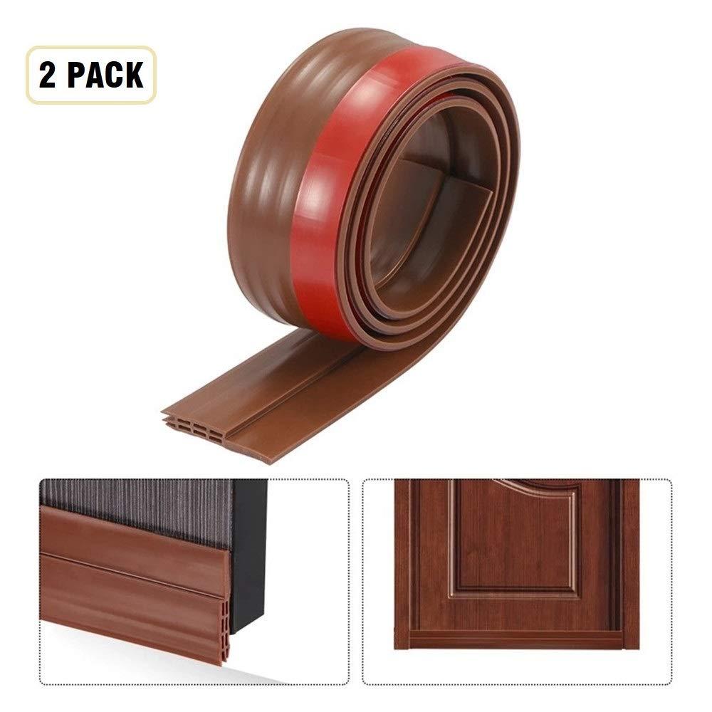Under Door Draft Stopper Door Sweep Door Draft Blocker Door Seal Insulation Door Threshold Cover Weatherstripping,Energy Saver for Weatherproofing Door Bottom Seal-2'' W x 39'' L-Brown (2PCS)