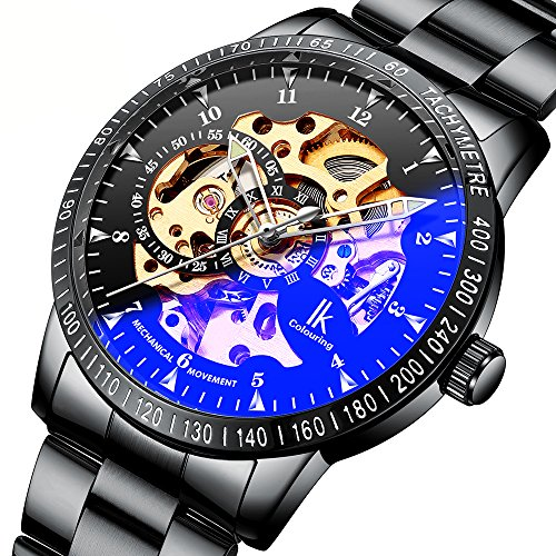 Gute Casual Mens Black Steel Skeleton Automatic Mechanical Coated Glass - Movement Skeleton