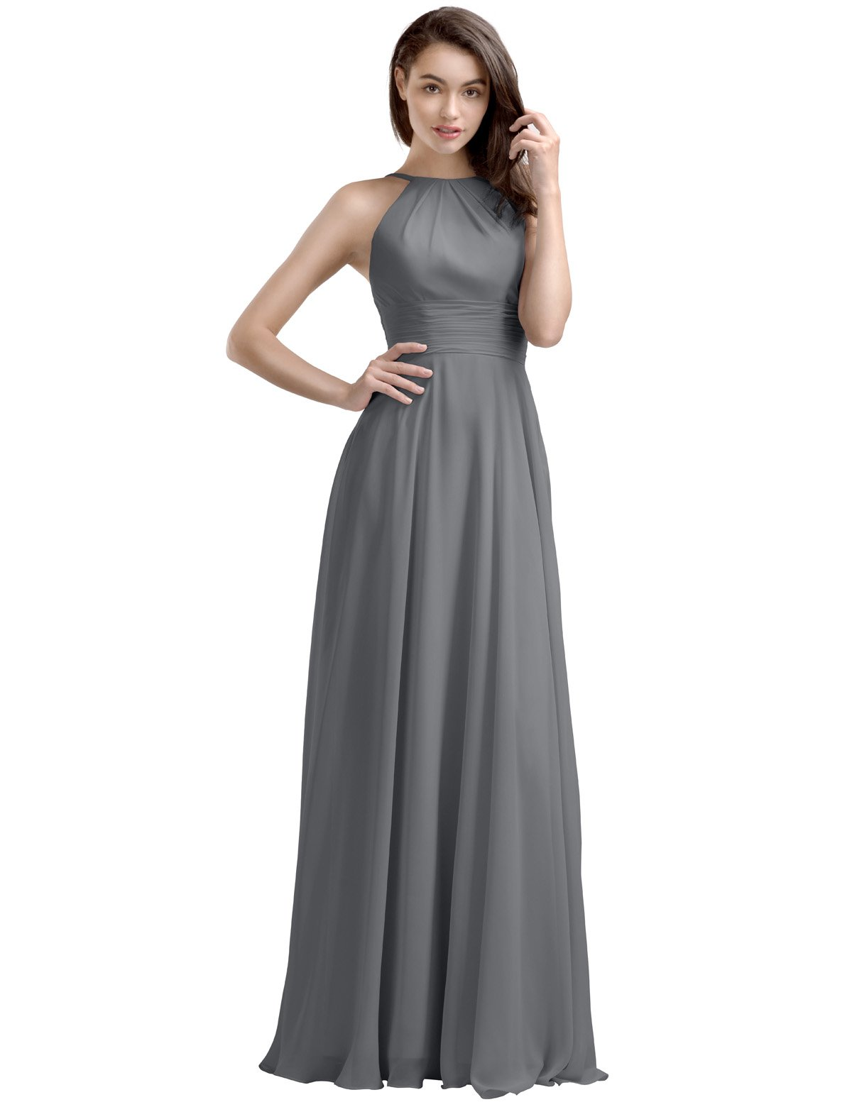 AWEI Bridal A-Line Long Bridesmaid Dress Chiffon Prom Dress with Round Neck, Steel Gray, US4