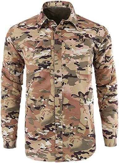 CAOQAO Camisa Hombre Manga Larga Moda de Secado rápido Casual Militar de Color Puro Camiseta de Manga Larga Tops: Amazon.es: Ropa y accesorios