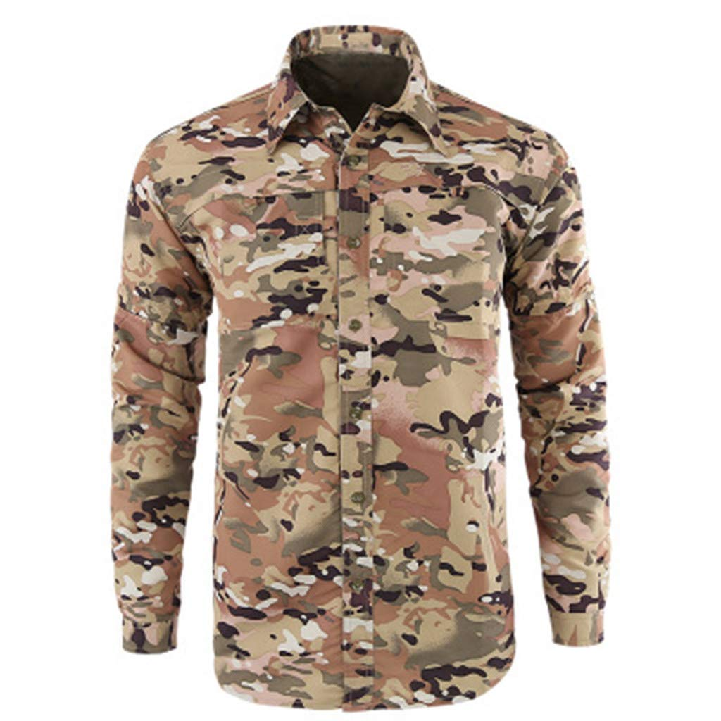 Xesvk Men's Shirts , Fashion Quick-Drying Casual Military Pure Color Long Sleeve T-Shirt Tops
