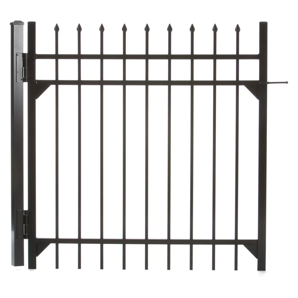 Specrail DIY Fence GR1483A048BL Branford Aluminum 3-Rail Fence Walk Gate with Hardware, 48 by 48-Inch