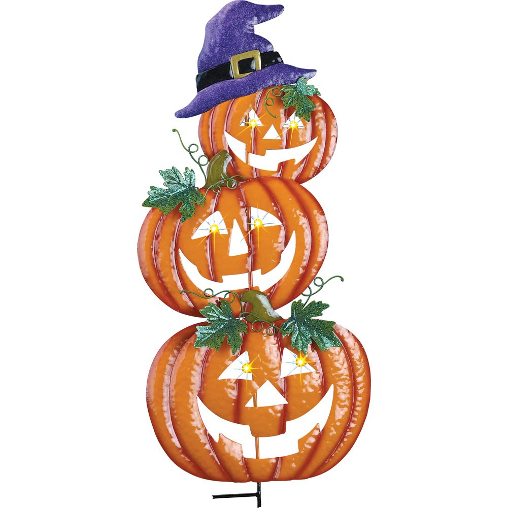 Collections Etc Stacked Halloween Jack-O-Lanterns With Witch Hat Garden Stake,33'' H