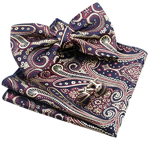 Alizeal Mens Floral Jacquard Pre-tied Bow Tie, Hanky and Cufflinks Set, Navy+Yellow