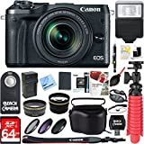 Canon M6 EOS 24.2MP Mirrorless Digital Camera with EF-M 18-150mm IS STM Lens (Black) + 64GB Class 10 UHS-1 SDXC Memory Card + Accessory Bundle