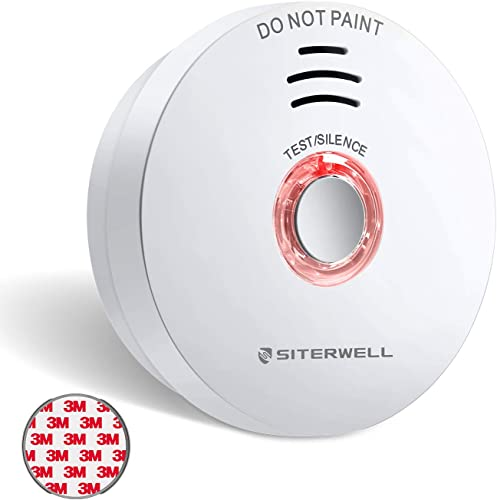 SITERWELL Smoke Detector, 10-Year Fire Alarm Smoke Detector with Built-in 3V Battery, Magnetic Fastened Fire Detector with Low Battery Warning and Silence Function, UL217, GS508C, 1 Pack