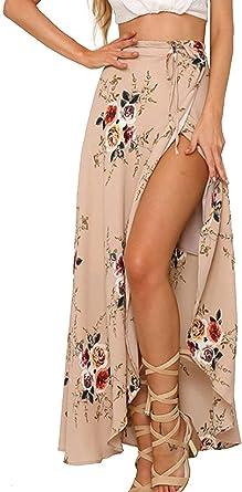 Faldas modestas Casuales para Mujeres Mujeres largas Boho Floral ...