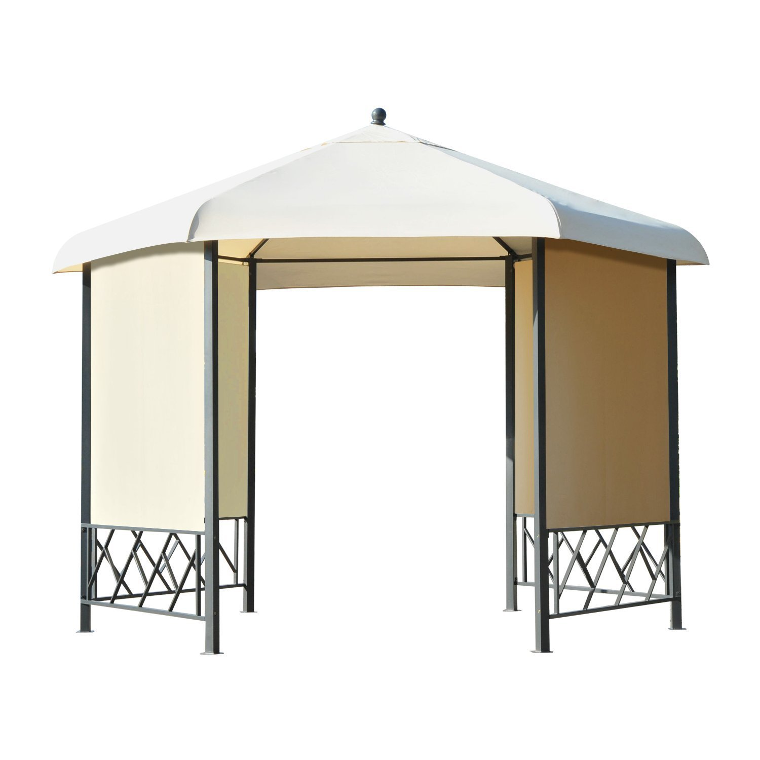 Outsunny 12' x 12' Steel Hexagonal Gazebo Canopy with Removable Side Panels