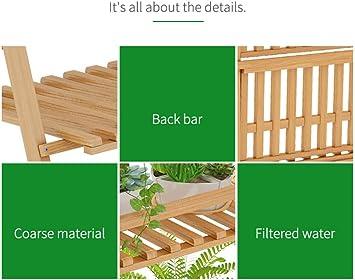 Soporte de Planta de Bambú Plegable de 4 Capas con Soporte para Macetas Pantalla de Interior y Exterior Invernadero del Jardín (log Color, L50cmxW47cmxH122cm): Amazon.es: Jardín