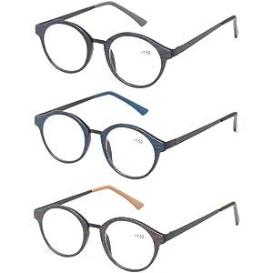 499bf7aa07a Kerecsen 3 Pack Vintage Metal Round Reading Glasses Classic Wood-Look  Readers