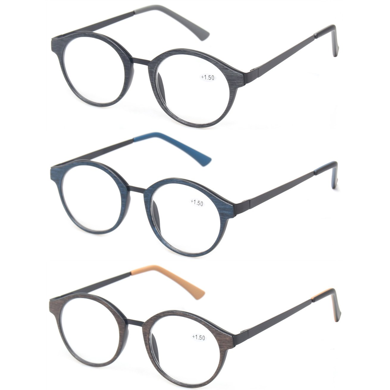 Kerecsen 3 Pack Vintge Metal Round Reading Glasses Classic Men and Women Spring Hinge Readers (3 Pack Mix Color, 2.75) by Kerecsen