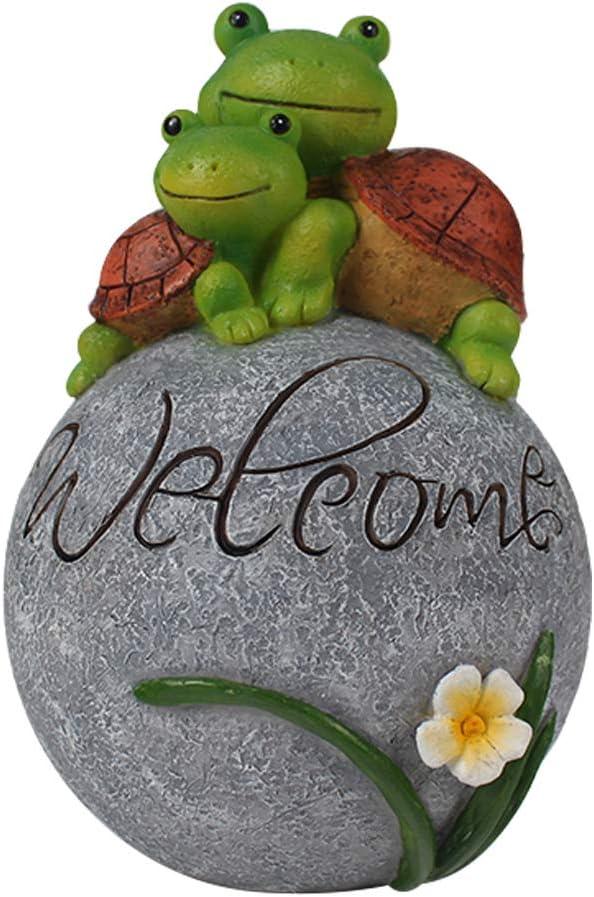 Patio Yard Art Decorations MARYTUMM Garden Statue Lawn Ornaments 9 Inch Cute Frog Face Turtles Resin Animal Sculpture Indoor Outdoor Decor Gift