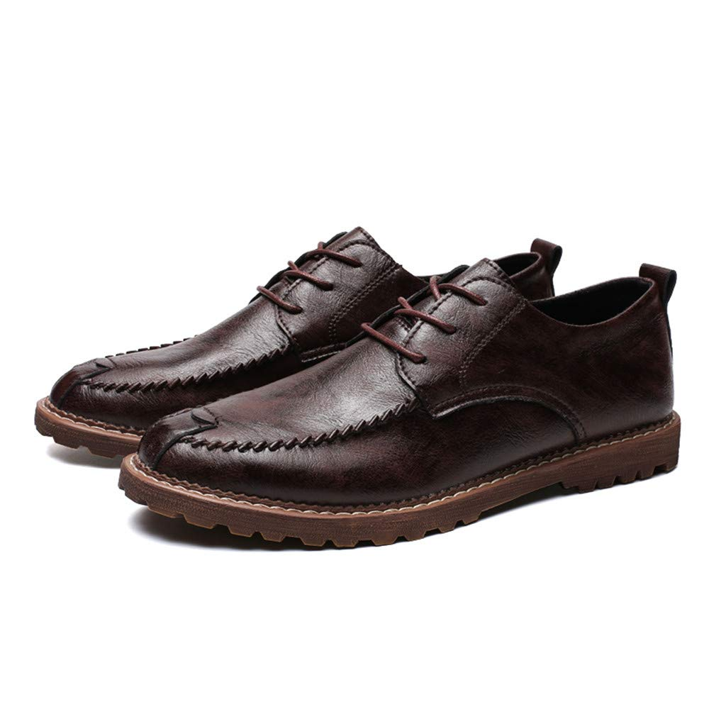 Ofgcfbvxd Business Ankle Schuh Runde für Herren Einfache Klassische Runde Schuh Zehe Geschäfts-Oxford-Neue Art-Formale Schuhe (warmes wahlweise freigestelltes) für Anzug Kleid Hochzeit Arbeit Dunkelbraun 66c446