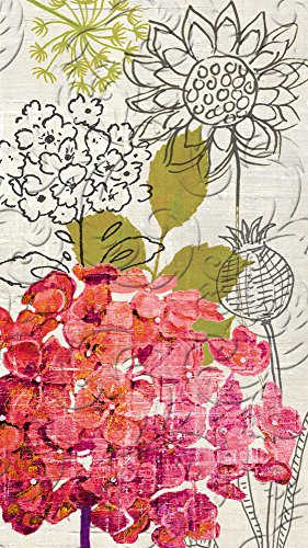 Sketch Floral Embossed Guest Towel Set of 15-8 x 5 Inches