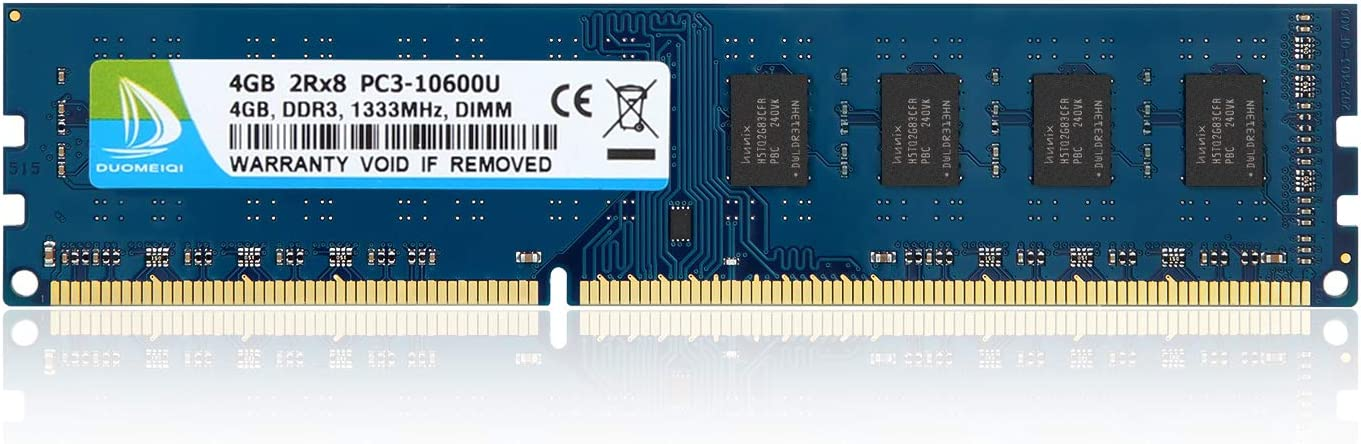 DUOMEIQI 4GB DDR3 1333MHz UDIMM PC3-10600 PC3-10600U CL9 2RX8 1.5v (240 PIN) Non-ECC Unbuffered Desktop Memory RAM Module Compatible with Intel AMD System