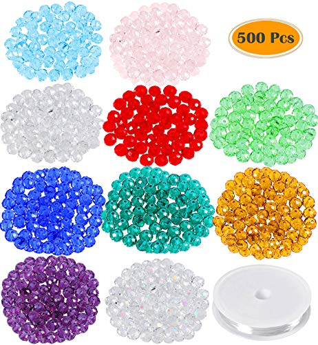 Paxcoo 500 Pcs Crystal Glass Beads Faceted Beads with Bracelet String for Jewelry Making