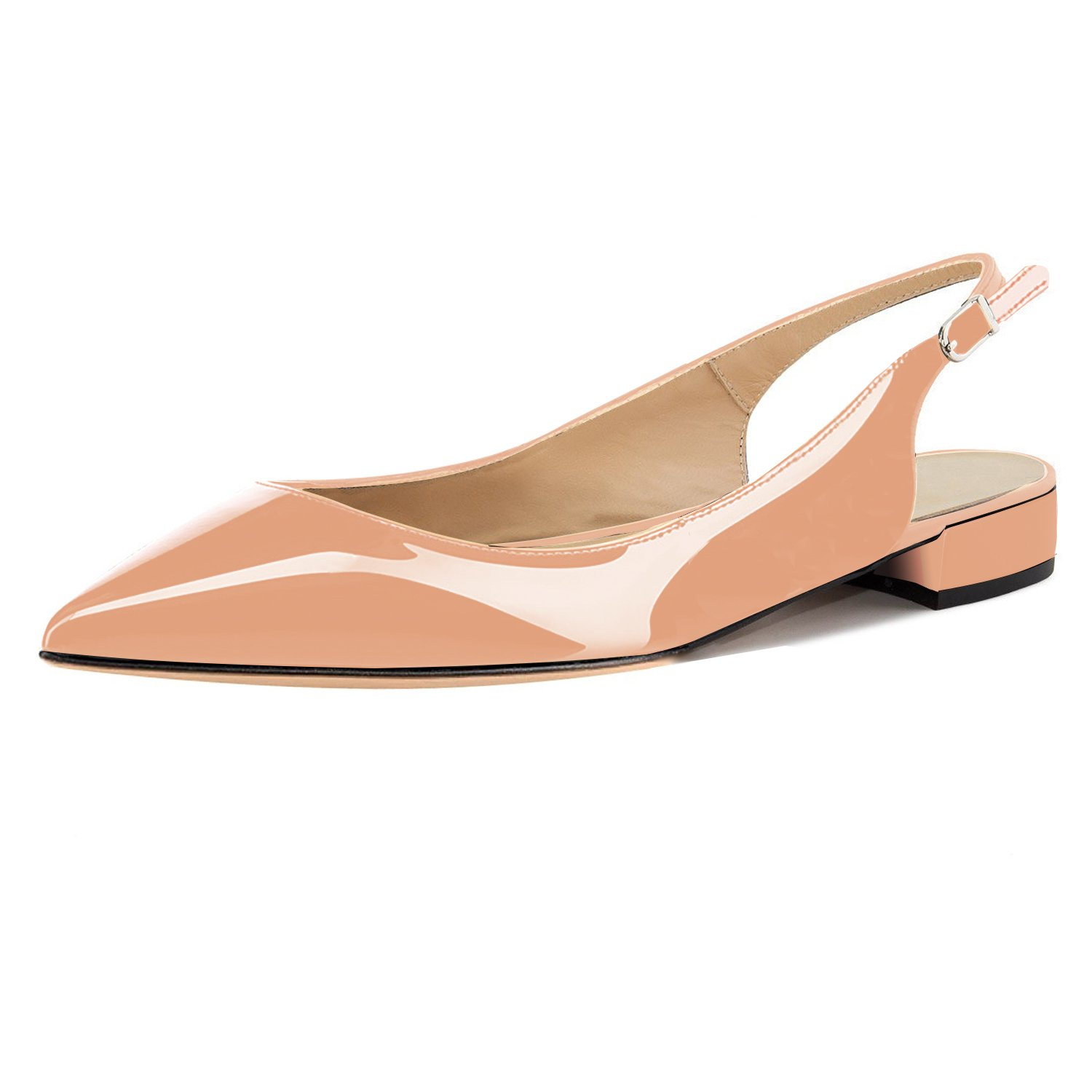 Eldof Women Low Heels Pumps | Pointed Toe Slingback Flat Pumps | 2cm Classic Elegante Court Shoes B07C2KDYYY 10 B(M) US|Patent Beige