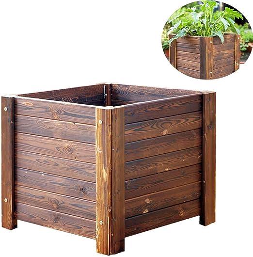 CJSWT Kit de Cama de jardín Elevado - Maceta de jardín elevada de Madera para Vegetales/Flores/Hierbas Madera Maciza para Exteriores, 30 * 30 * 25 cm: Amazon.es: Jardín