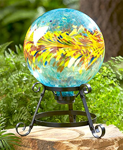 The Lakeside Collection Colorful Glass Ball on Stand - Turquoise & Yellow
