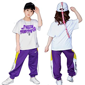 303de1f13 Moyuqi Boys Ballroom Hip Hop Jazz Dancing Costumes Children Party Stage  wear Performance T Shirt Tops