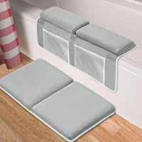 """Bath Kneeler with Elbow Rest Pad Set,1.5"""" Thick Baby Bath Kneeling Pad Arm Rest Cushion Non-Slip Bottom with 4 Toy Organizer for Happy Baby Bathing Time(Gray)"""